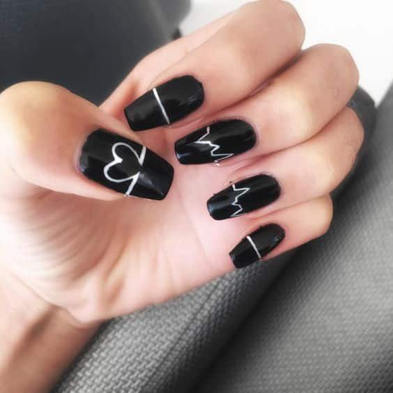 Uñas acrílicas negras Tumblr